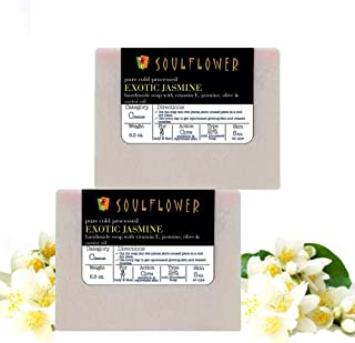 Soulflower Jasmine Handmade Soap with Coconut Oil, Organic, Vegan and Coldprocessed, Relax, Rejuvenate, Cleanse, Soft Mois...