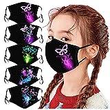 5PCS Kindertraum Schmetterlingsdruck Multifunktionale Baumwolle Waschbares Handtuch Mundschutz Handtuchschal Jungen und Mädchen A.