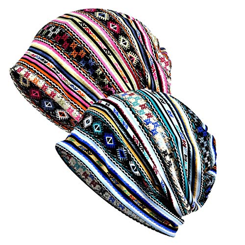 WELROG Chemo Hut Frau Hut Spitzen Kopftuch Super Weich Slouchy Turban Kopfbedeckungen Kopf Wraps(Blue/Pink Geometry)
