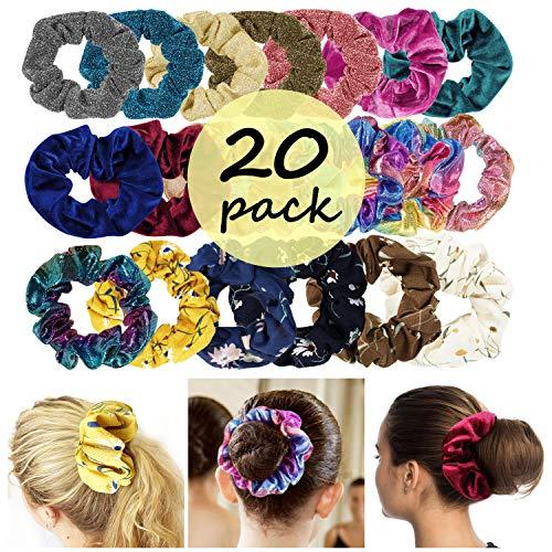 Paquete de 20 bandas elásticas para el pelo con 4 series de diademas, incluye grandes bandas de terciopelo y gasa para el pelo, accesorios para el cabello para mujeres y niñas
