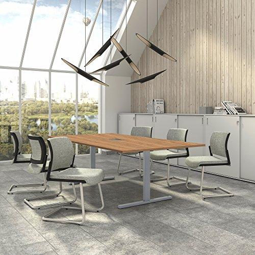 Easy Konferenztisch 240x120 cm Bernstein-Eiche mit ELEKTRIFIZIERUNG Besprechungstisch Tisch, Gestellfarbe:Silber