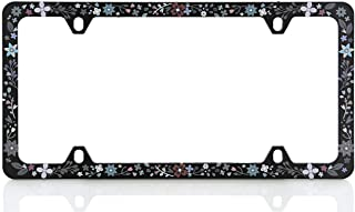 Baron-Jewelry Pretty License Frame with a Unique Retro Flower Design. Made Plastic and UV Printed for Extreme Durability. (Black Mulit - T)