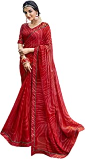 فستان نسائي هندي أحمر لحفلات الاحتفالية طراز كوكتيل جورجيت ساري مع بلوزة مصمم بأسلوب فاخر 6051