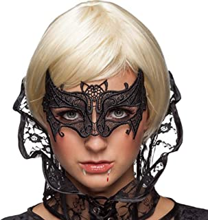 Women Masquerade Black Lace Mask,Veil Queen Eye Mask for Halloween Mardi Gras Party