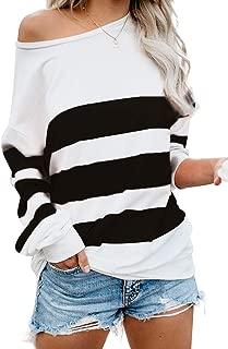 Women's Casual Striped Long Sleeve Tops One Shoulder Tunics Shirt Pullover Sweatshirt