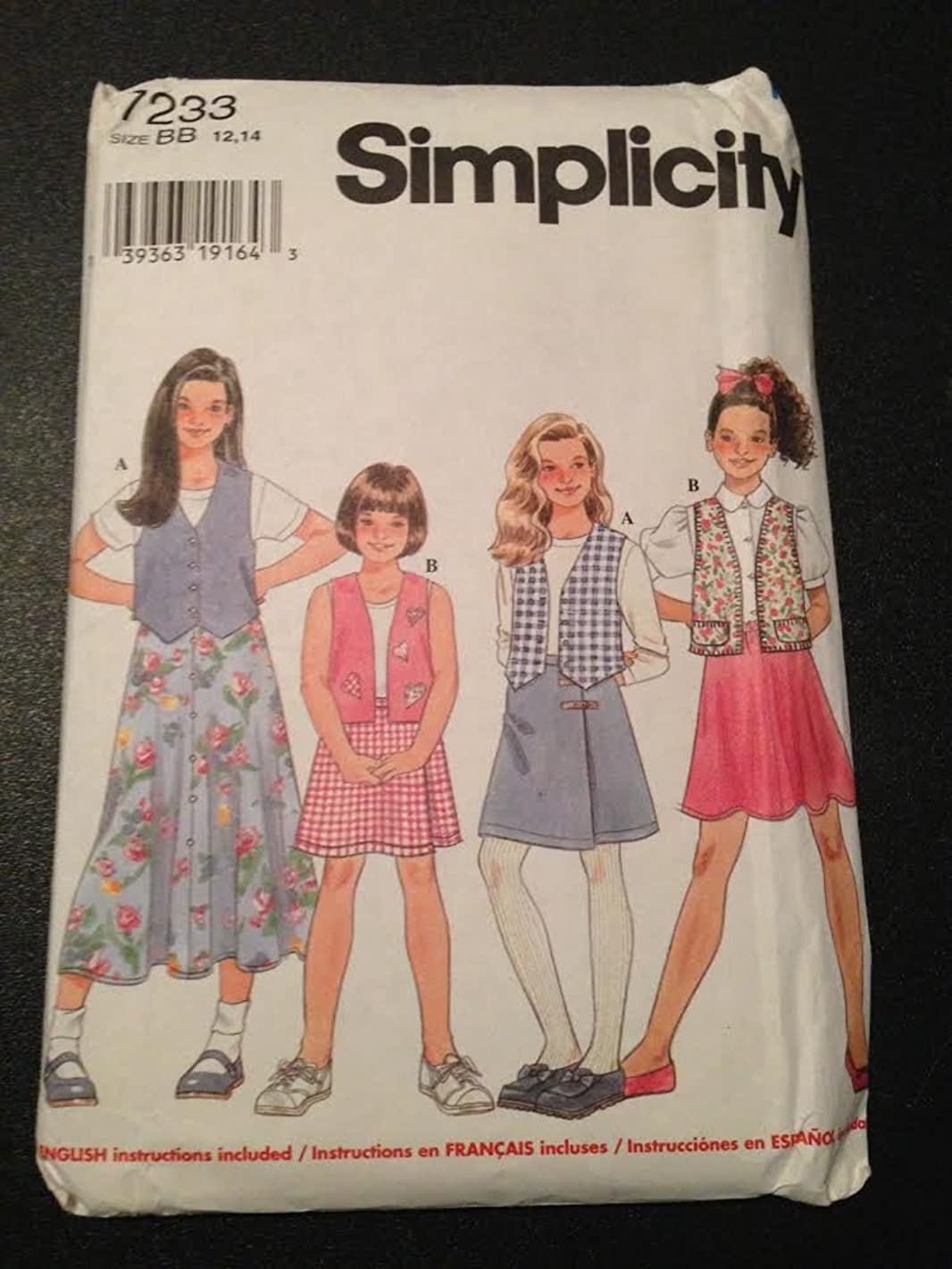 Simplicity 7233 Sewing Pattern, Girls' Vests and Skirts, Size BB (12,14)