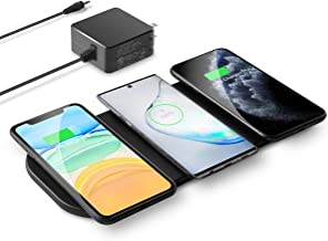 Wireless Charging Pad, Kexm Qi-Certified Ultra-Slim Fast Triple Wireless Charger Station for Multiple 3 Devices & New Airpods Leather W/AC Adapter for All Qi Enabled Phones(Black)
