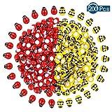 200 pegatinas autoadhesivas de abeja de madera pequeña de abeja para decoración de tarjetas Rojo+Amarillo