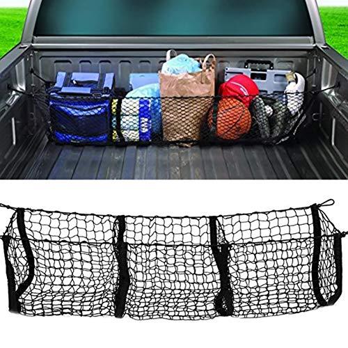 Red de carga con ganchos, bolsa de red para maletero de automóvil con tres rejillas para equipaje, bolsillo de red tridimensional, red de carga resistente para automóvil, SUV, camioneta pickup