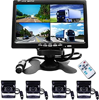 Camecho Vehicle Backup Camera 7 Inch 4 Split Monitor+ 4 Cameras with Front View, Rear View 18 IR Night Vision Waterproof A... photo