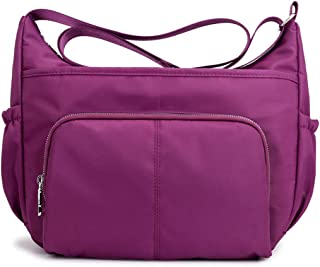 Women's Anti Splash Water Shoulder Messenger Crossbody Bags for Travel School Shopping and Work,Purple,33 * 15 * 28cm