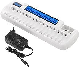 BONAI Caricabatterie Intelligente con Display LCD,Caricabatteria Ricaricabili Caricatore 16 Slot per Ni-MH AA AAA Batterie e 2 Alloggiamenti Aggiuntivi per 9V Laminate/Lithium Batterie