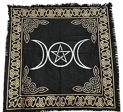 vrinda Altar Tarot Cloth, Triple Moon/Goddess with Pentagram