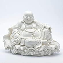 Collectible Figurines Sculptures Chinese White Porcelain Happy Laugh Maitreya Buddha Statue
