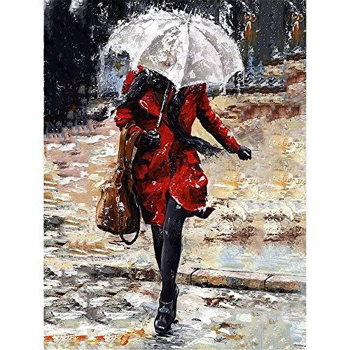 Malen nach Zahlen für Erwachsene auf Leinwand Paar Regenschirm Stil Zeichnung Malvorlagen Moderne DIY Kits Artwork Home Einzigartige Dekoration Geschenk Rahmenlos 40X50Cm