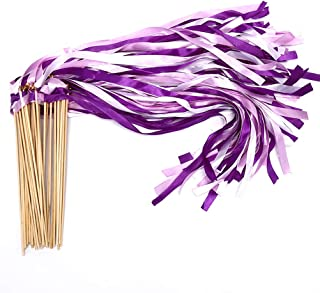 40 Pack Ribbon Wands - MeiMeiDa Purple Ribbon Fairy Wands with Bell and Smooth Wood Sticks, Chromatic Silk Waving Party Streamers for Wedding Best Wishes, Kids Birthday Props, Dance Party Favors