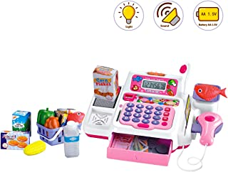 deAO Play Supermarket Shop Toys with Calculator ,Working Scanner,Credit Card ,Play Food ,Money and Groceries Shopping Basket (Pink)