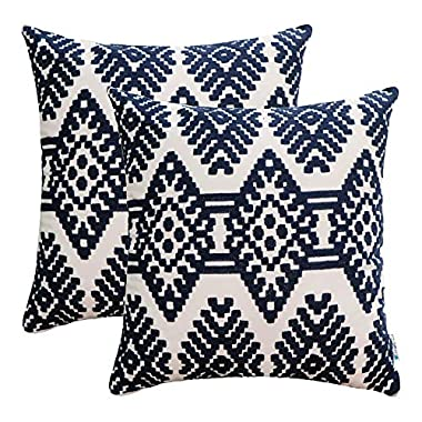 HWY 50 Blue Embroidered Throw Pillows Covers Couch Sofa Bed 18 x 18 inch, Pack of 2 Cotton Decorative Throw Pillow Cases, Abstract Artistic Rhombus Geometric Cushion Covers