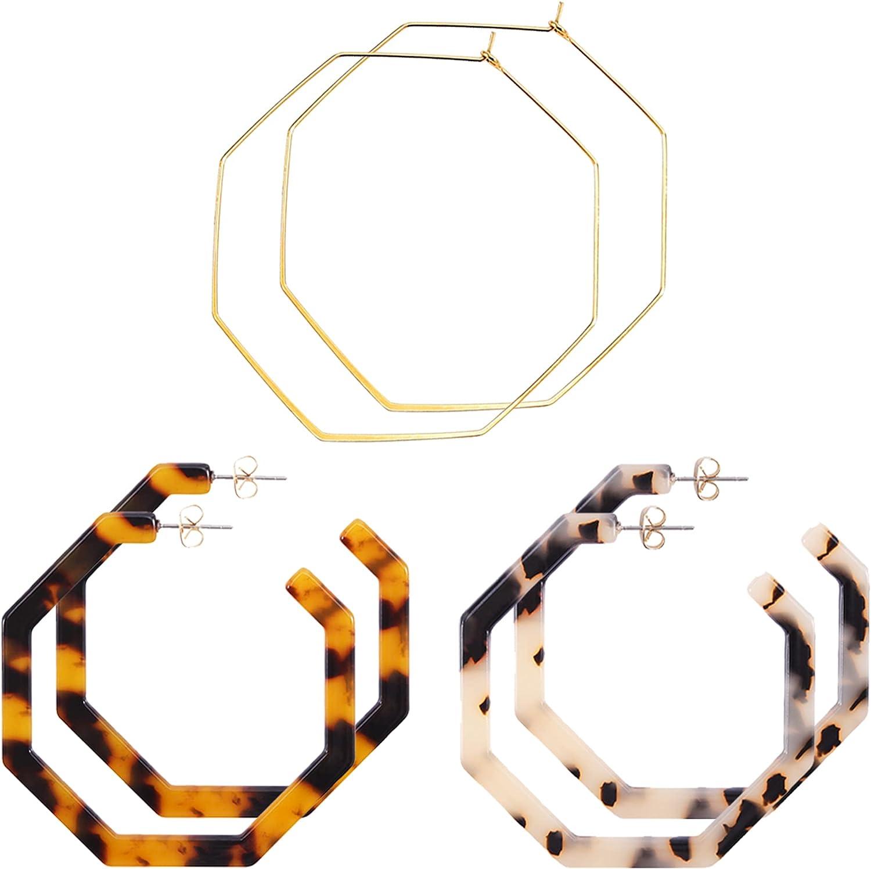 wowshow Geometric Hoop Earrings Set for Women