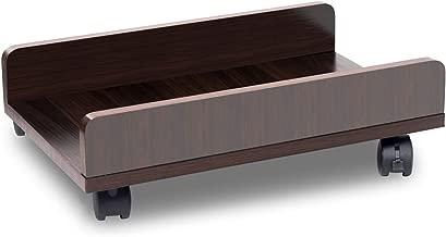 Bestier Computer CPU Stand Cart CPU Holder with 4 Caster Wheels Under Desk (Brown 1)