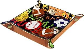 Panier de rangement carré 16 × 16 cm, avec motif balles de sport, baseball, basketball, football, boîte de rangement sur t...