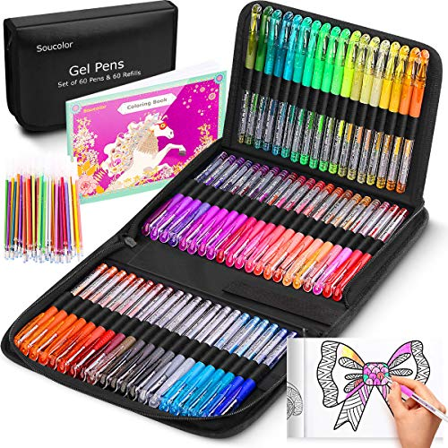 Glitter Gel Pens for Adult Coloring Books, 122 Pack Artist Colored Neon Glitter Gel Marker Pens Set with 40% More Ink for Kids Drawing Note Taking Crafts Scrapbooks Bullet Journaling Doodling