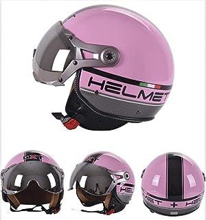 Pkfinrd Casco de medio cuero de motocicleta con gafas gratuitas Casco de motocicleta de crucero de medio casco de viaje retro@Flor rosa claro_L (55-58cm)