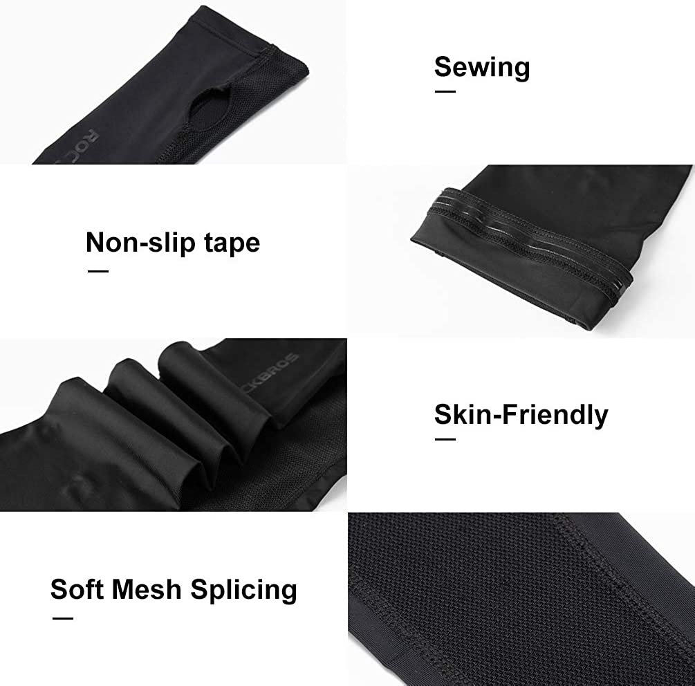 ROCK BROS Cooling Arm Sleeves for Men Women Long Sleeves UV Protection