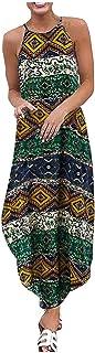 Women Vintage Maxi Dress, Ladies O-neck Sleeveless Strappy Party Long Dress