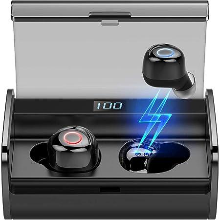 ワイヤレスイヤホンBluetoothイヤホン5.0進級版 重低音 IPX8防水 3Dステレオサウンド ノイズキャンセリング機能付き & AAC オーディオ対応 (カナル型) マイク内蔵 自動オンオフ 自動ペアリング 両耳左右分離型 ブルートゥースイヤホン ランニング コードレスイヤホン ぶるーとーす 無線イヤフォン ハンズフリー通話 運動運転LEDディスプレイ電量表示 PSE認証済