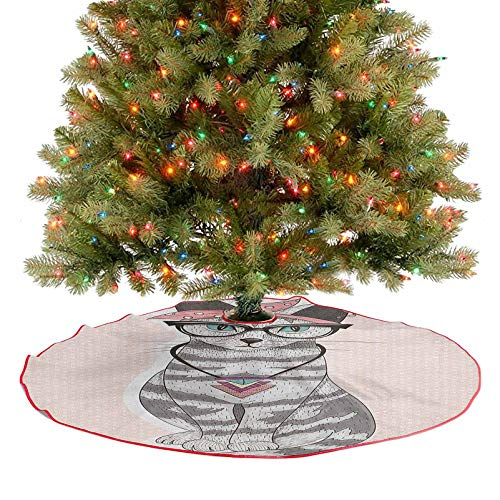 Homesonne Tree Skirt Stylish Kitty Cat with Glasses Tribal Necklace Clasp Fashion Design Print Christmas Decoration Your Cat May Enjoy Laying on The Tree Skirt Pale Pink Grey 48 Inch