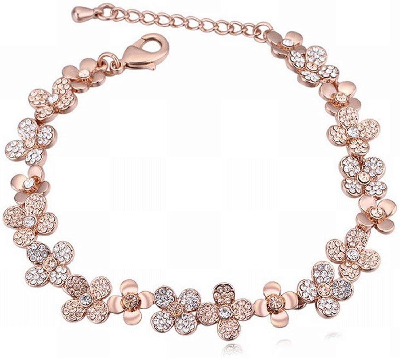 Zicue Stylish Charming Bracelet Exquisite Ornaments Jewelry HighEnd Crystal Bracelet Sweet pink gold Diamond Bracelet for Women , Peach 24814