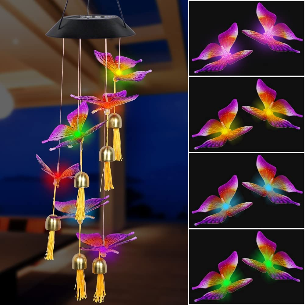 MorTime LED Solar Butterfly Wind Chime with Bell, Mobile Hanging Wind Chime for Home Garden Decoration, Automatic Light Changing Color, Colorful Butterfly