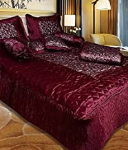 Rajasthan Crafts Silk 8-Piece King Size Bedding Set of 1 Bedsheet, 2 Pillow Covers, 2 Filled Cushions and Bolsters, 1 AC Comforter(Maroon)