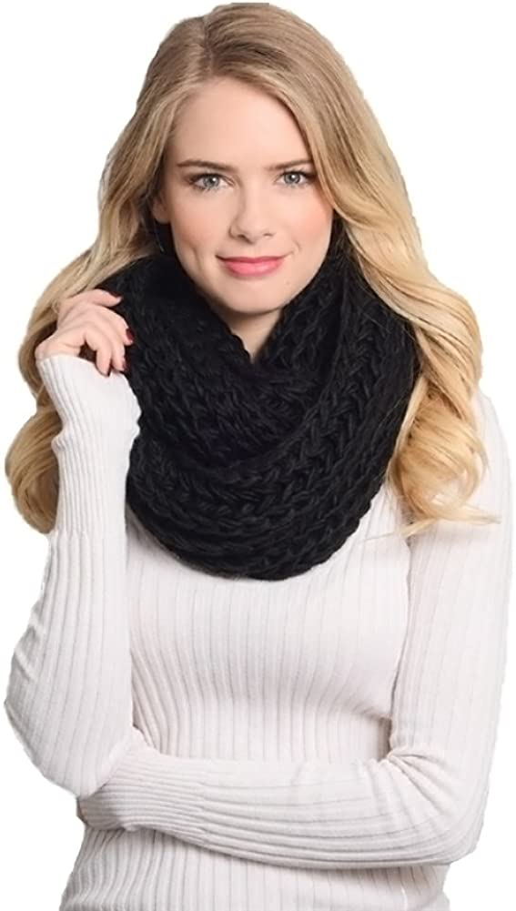 Aris Womens Thick Chunky Chic Credence Infinity Bundle low-pricing Scarf Cable Knit