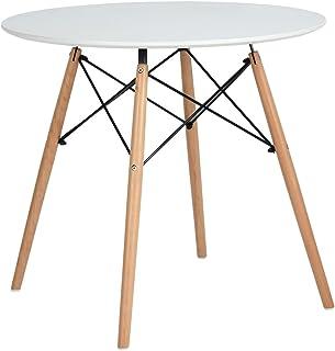 IPOTIUS Table Salle à Manger en Bois Table Ronde Scandinave 2 à 4 Personnes Table de Cuisine Moderne avec Pieds en Bois et...