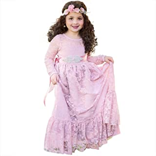 Lace Flower Girl Dress Wedding Party Country Dresses Boho Long Sleeves Gown- Baby Toddler Teen