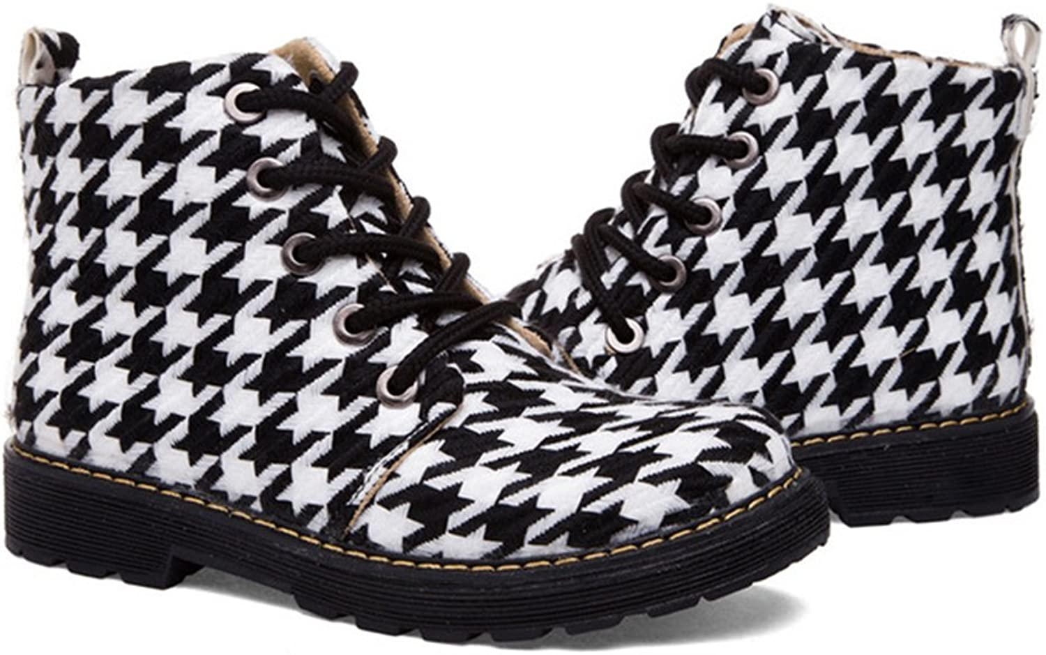 BININBOX Women's Check Pattern Lace-Up Boot Black