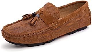 Fashion Penny Loafers for Men Boat Moccasins Slip On with Tassels Cow Suede Breathable Walking Round Toe Men's Boots (Color : Light Brown, Size : 6.5 UK)
