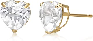 Lavari - Heart 6MM Gemstone 10K Yellow Gold Stud Earrings