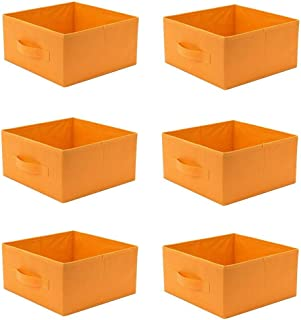 Blue Bright 6 PC Storage Bins Fabric Organizer Foldable Basket Half Cubes Collapsible Household Boxes Home Pack Container Drawer Orange Color
