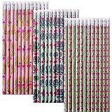TE-Trend 36 Stück Bleistifte Schreibstifte Stift Motiv Flamingo Wasservogel Radiergummi Radierer 19cm Mehrfarbig