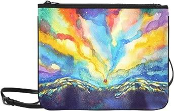 Abstract Mountain Sky Watercolor Painting Color Co Pattern Custom High-grade Nylon Slim Clutch Bag Cross-body Bag Shoulder Bag