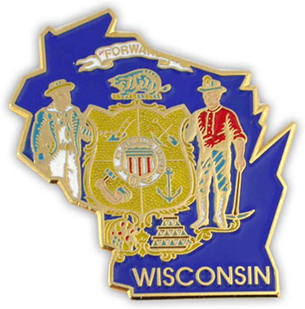 PinMart State Shape of Wisconsin and Wisconsin Flag Lapel Pin