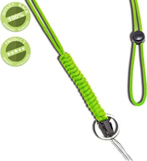 WALNEW 25-Inch Fashion Strong Survival Paracord Lanyard Necklace with Carabiner, Alloy Ring and Clip for Mobile Phones, Keys, Flashlights, ID Cards, Whistles, USB Drives, Knives etc