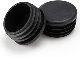 1 inch Round Cup Patio Furniture Insert Glide End Black Cap for Outdoor Wrought Iron Tables Chairs - 25 Pack