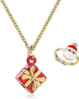 2/12 Pcs Christmas Cubic Zircon Crystal Rhinestone Snow Tree Heart Shape Pendant Necklace and Open Rings Set Adjustable Je...