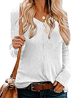 Women V Neck Long Sleeve Knit Pullover Sweaters Jumper Tops