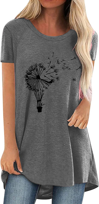 Dandelion Print Tunic for Women Short Sleeve Blouse Casual Crewneck Tshirt Ladies Loose Fit Tops