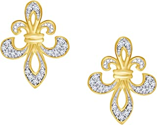 Round Cut Natural Diamond Fleur De Lis Earrings In 14K Gold Over Sterling Silver (1/8 Cttw)